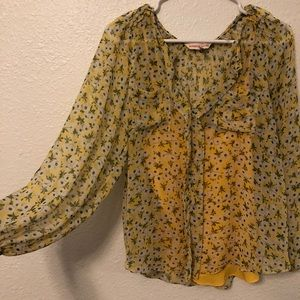 Rebecca Taylor yellow/green floral top
